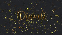 Animation Of Gold Text Divali, With Gold Confetti And Orange Spots Of Light, On Black