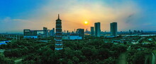 Famous Tower In Guangzhou City, Guangdong Province With Sunset