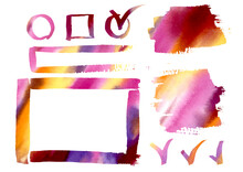 Multicolor Watercolor Design Elements, Watercolor Gradient Colorful Frames Freehand Drawing. Multicolored Watercolour Set Pink, Red, Violet, Orange And Yellow Frame, Logo And Ribbon Elements On White