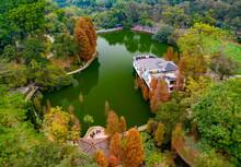 Bridge Over The Lake In Autumn