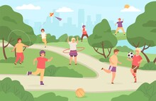 Kids Sport Outdoor. Children Play In Park Playground. Girl With Kite, Boy Playing Football And Baseball. Flat Summer Activity Vector Concept