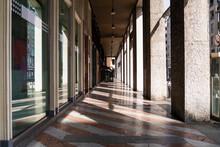 Italy, Milan, Empty Sidewalk During COVID-19 Outbreak