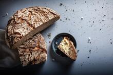 Slice Of Brown Rye Bread On Table
