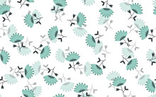 Seamless Floral Pattern Based On Traditional Folk Art Ornaments. Colorful Flowers On Light Background. Scandinavian Style. Sweden Nordic Style. Vector Illustration. Simple Minimalistic Pattern
