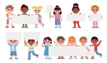 Cartoon Kids Holding Placards, Sign Boards And Banner. School Students With Empty Frames. Children Boys And Girls With Message Vector Set