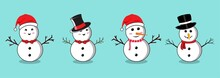 Christmas Snowman Set With Smiling Faces And Hats. Flat Snowman Collection On A Blue Background. Christmas Snowman Flat Design With Tree Branches, Buttons, Bow Tie, Neck Scarf, And Carrot Noses.