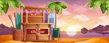 Wooden Tiki Bar On On Sea Beach At Sunset In Cartoon Style
