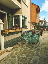 Gökceada, Imbros Island, Canakkale, Turkey 09.10.2021, Stone Houses, Bicycles And Street Views On The Streets Of Gökçeada