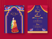 India Kitsch Style Wedding Invitation Card With Event Details In Front And Back View.