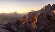 canvas print picture - Blick Richtung Osten vom Cirjoch bei Sonnenaufgang / Eastern view from Furcela de Cir at Sunrise
