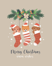 Christmas Greeting Card. Vector Cartoon Illustration With Three Cute Cartoon Puppies In Christmas Red Socks. Small Dogs In Santa Hats. Isolated On Background