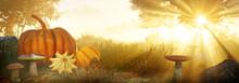 Autum Landscape. Autumn Harvest And Thanksgiving Concept. Seasonal Autumn Landscape With Pumpkins, Mushrooms And Leaves. 3D Rendering.
