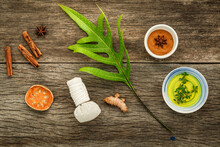 Branch Of Fern Leaves With Nature Spa Ingredients Dried Indian Bael ,herbal Compress Ball,turmeric,cinnamon Powder ,cinnamon Sticks ,aromatic Oil  And Star Anise On Rustic Background.