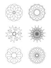 Vector Circular Isolated  Elements Of Design. Adstract  Line Art Mandala, Logo, Decoration Shape Set.