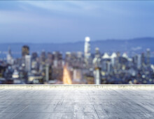 Empty Concrete Dirty Rooftop On The Background Of A Beautiful Blurry San Francisco City Skyline At Night, Mock Up
