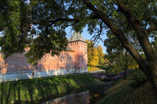 Smolensk City Park. View Of The Smolensk Fortress Wall.