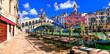Leinwanddruck Bild - Beautiful amazing Venice town. Grand canal and Rialto Bridge. Popular touristic attraction and landmark. Italy