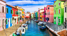 Most Colorful Traditional Fishing Town (village) Burano Island Near Of Venice. Italy Travel And Landmarks
