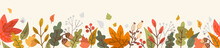 Autumn Leaf Fall Horizontal Banner. Seamless Border With Hand Drawn Cute Colorful Leaves. Vector Illustration