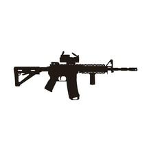 Modern M4 Carbine Riffle Silhouette Vector Design