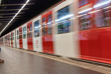 Subway Train In Movement Arriving At The Station