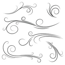 Set Black Collection Simple Line Winds Gust Squall Curl Doodle Outline Nature Element Vector Design Style Sketch Isolated Illustration