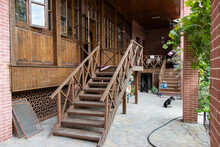 Wooden Staircase And Courtyard Of Home. The House Where Nuri Pasha Lived In Ganja In 1918 Year.