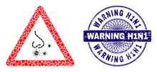 Geometric Mosaic Nasal Infection Warning, And Warning H1N1 Rubber Stamp. Violet Stamp Includes Warning H1N1 Text Inside Round Shape.