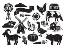 Woodcut Style Farm Set With Country Elements On White Background. Farm Animals, Vegetables And Other Essential Typical Elements From The Country Farming Life. Flat Cartoon Vector Illustration