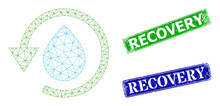 Mesh Water Dew Recovery Image, And Recovery Blue And Green Rectangular Unclean Stamps. Mesh Wireframe Illustration Created From Water Dew Recovery Pictogram.