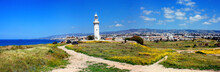 View Of The Old Lighthouse In Paphos Archaeological Park On The Island Of Cyprus, Panorama, Banner. Republic Of Cyprus