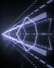 Vortex Tunnel Of White Neon Lights