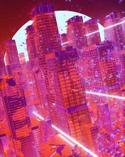 Landscape Of A Futuristic City Falling Apart