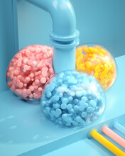 Colorful Bubble Machine With Paint Texture And Pipes