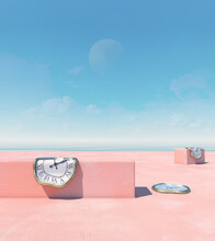 Surreal Melting Clocks On A Minimalist Beach With A Rising Moon