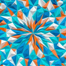 Colorful Geometric Fractal Star With Wooden Texture