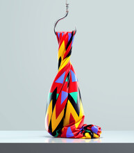 Geometric Fabric Draped On A Metal Hook Hanging By A Thread