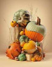 Autumn Harvest Arrangement With Gourds, Pumpkins, Wheat And Wood