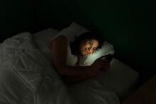 Beautiful Woman Sending A Goodnight Text
