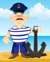 Vector Illustration Of The Sailor With Anchor Ashore Ocean