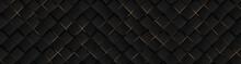 Luxury Abstract Black Metal Background With Golden Light Lines. Dark 3d Geometric Texture Illustration. Bright Grid Pattern. Pure Black Horizontal Banner Wallpaper. Elegant BG. Square Diamond Tiles