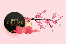 Happy Chinese New Year Flowers Background Design