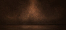 Dark Brown Showroom With Rough Cement Concrete Floor And Grunge Wall Background
