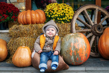 Happy Newborn Baby Boy Happily Shows Tongue. Little Child Wearing Jeans And Yellow Jacket Posing In A Place Decorated With Pumpkins, Haystacks And Chrysanthemum Flowers. Autumn Activities For Children