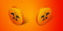Isometric Fleur De Lys Or Lily Flower Icon Isolated On Orange Background. Orange Circle Button. Vector
