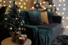 Home Interior With Small Decorated Christmas Tree