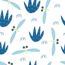Vector Seamless Pattern With Cute Dragon Fly In Flat Style