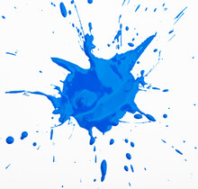 Deep Blue Paint Spot Isolated On White Background