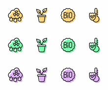 Set Line Banner For Bio, Acid Rain Radioactive Cloud, Plant Pot And Thermometer Icon. Vector