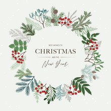 .Christmas Round Frame With Poinsettia, Holly Berries, Mistletoe, Pine And Fir Branches, Cones, Rowan Berries. Xmas And Happy New Year Postcard. Vector Illustration
